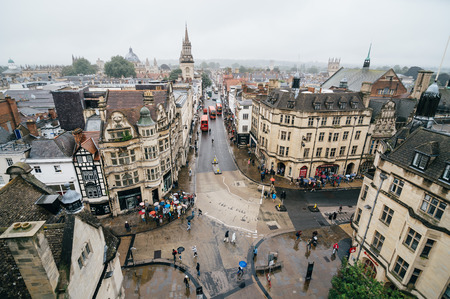 Oxford, UK - August 12, 2015: High angle view of Oxford a rainy day. The city is known as the home of the University of Oxford, the oldest university in the English speaking world. Editorial