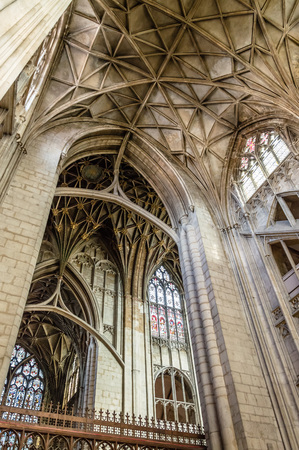 indivisible: Gloucester, UK - August 17, 2015: Interior of Cathedral Church of St Peter and the Holy and Indivisible Trinity. Gothic style.
