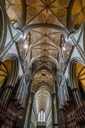 Salisbury, UK - August 16, 2015: Interior view of Salisbury Cathedral. Dedicated to the Blessed Virgin Mary, is an Anglican cathedral and one of the leading examples of Early English architecture. Editorial
