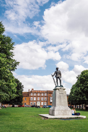 rifleman: Winchester, UK - August 16, 2015: Bronze statue of a rifleman near Winchester Cathedral.