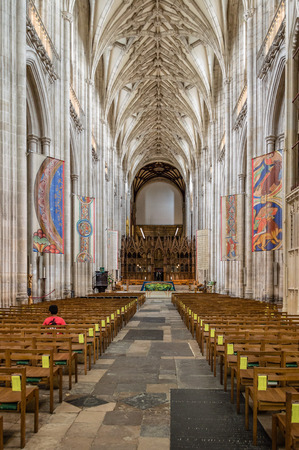 Winchester, UK - August 16, 2015: Interior view of Winchester Cathedral. Dedicated to Holy Trinity is one of the largest cathedrals in Europe.