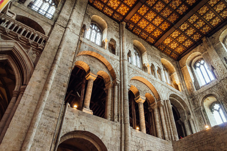 winchester: Winchester, UK - August 16, 2015: Interior view of Winchester Cathedral. Dedicated to Holy Trinity is one of the largest cathedrals in Europe.