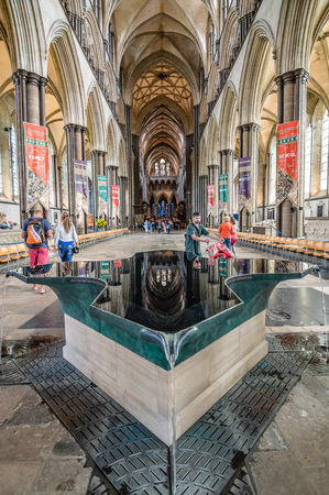 16: Salisbury, UK - August 16, 2015: Interior view of Salisbury Cathedral. Dedicated to the Blessed Virgin Mary, is an Anglican cathedral and one of the leading examples of Early English architecture. Editorial