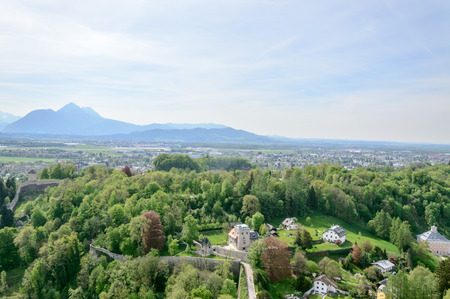 mozart: Salzburg, Austria - April 29, 2015:   View from Hohensalzburg Castle. Salzburg is renowned for its baroque architecture and was the birthplace of Mozart. It is an Unesco World Heritage Site.