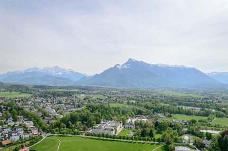 amadeus: Salzburg, Austria - April 29, 2015:   View from Hohensalzburg Castle. Salzburg is renowned for its baroque architecture and was the birthplace of Mozart. It is an Unesco World Heritage Site.