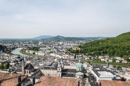 baroque architecture: Salzburg, Austria - April 29, 2015:   View from Hohensalzburg Castle. Salzburg is renowned for its baroque architecture and was the birthplace of Mozart. It is an Unesco World Heritage Site.