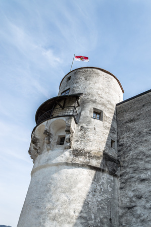 mozart: Salzburg, Austria - April 29, 2015:   Hohensalzburg Castle. Salzburg is renowned for its baroque architecture and was the birthplace of Mozart. It is an Unesco World Heritage Site.