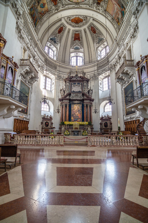 mozart: Salzburg, Austria - April 29, 2015:  Franciscan church. Interior view. Salzburg is renowned for its baroque architecture and was the birthplace of Mozart. It is an Unesco World Heritage Site. Editorial