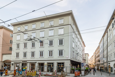 amadeus: Salzburg, Austria - April 29, 2015:  Commercial street with construction works. Salzburg is renowned for its baroque architecture and was the birthplace of Mozart. It is an Unesco World Heritage Site. Editorial