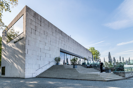 amadeus: Salzburg, Austria - April 29, 2015:  ;useum of modern art. Salzburg is renowned for its baroque architecture and was the birthplace of Mozart. It is an Unesco World Heritage Site.