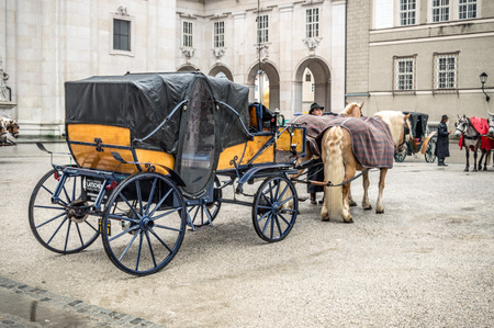 mozart: Salzburg, Austria - April 30, 2015: Horse driven carriage a rainy day. Salzburg is renowned for its baroque architecture and was the birthplace of Mozart. It is an Unesco World Heritage Site.