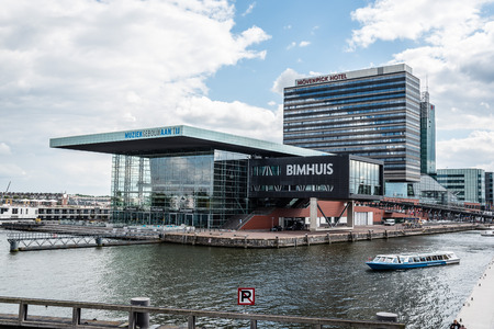 Amsterdam, Netherlands - August 1, 2016: Contemporary architecture in  Amsterdam. The Bimhuis is a concert hall for jazz and improvised music in Amsterdam.
