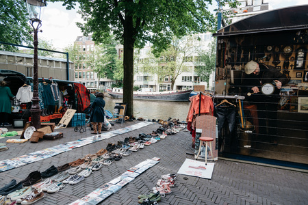 Amsterdam, Netherlands - August 1, 2016: Flea market in Amsterdam Editorial