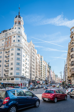 Madrid, Spain - November 13, 2016:   Gran Via Street in Madrid. It is an important street in Central Madrid with shops and theaters.  View from Spain Square