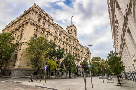 Madrid, Spain - November 16, 2014:  Montalban Street near Madrid City Hall. Low angle view. Editorial