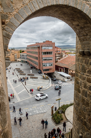 Avila, Spain - November 11, 2014:  The Medieval Walls of Avila. The old city and its extramural churches Editorial