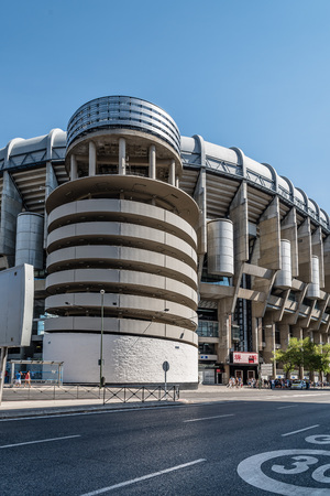 Madrid, Spain - September 14, 2016: Santiago Bernabeu Stadium. It is the current home stadium of Real Madrid Football Club. Outdoors view Editorial