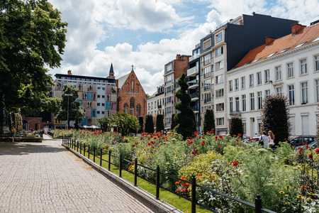 Leuven, Belgium - July 30, 2016: Cityscape in the city of Leuven. Boulevard Herbert Hooverplein