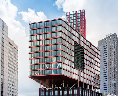 Rottedam, The Netherlands - August 6, 2016: Modern architecture office building in Rotterdam. Many new towers have arisen, and many new iconic buildings designed.