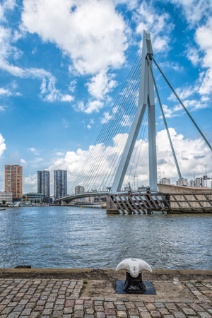 Rotterdam, Netherlands - August 6, 2016: The 800-metre long Erasmus Bridge spans the Maas River and links the northern and southern parts of Rotterdam. Editorial
