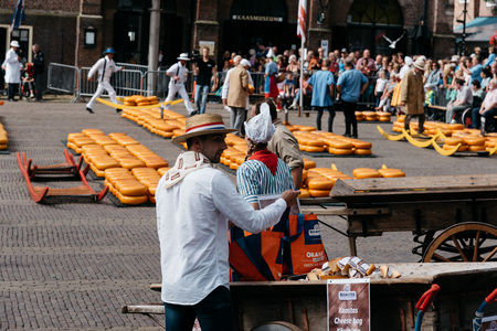 bidding: Alkmaar, Netherlands - August 5, 2016: Cheese market.  Alkmaar is well known for its traditional cheese market. For tourists, it is a popular cultural destination Editorial