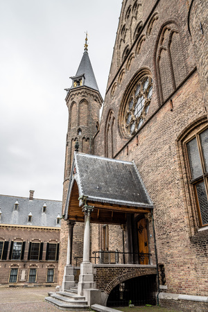 Hague, Netherlands - August 7, 2016:  Inner court of Binnenhof. It  is a complex of buildings in the city centre of The Hague. Includes the Office of the Prime Minister and House of Representatives. Editorial