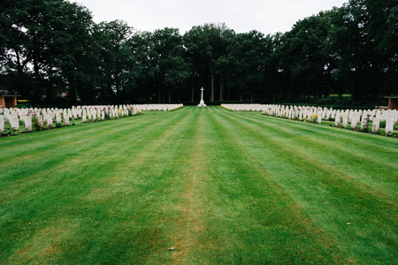 Oosterbeek, Netherlands - August 09, 2016: Airborne War Cemetery. It is a Commonwealth War Graves Commission cemetery for the soldiers killed in the battle of Arnhem.