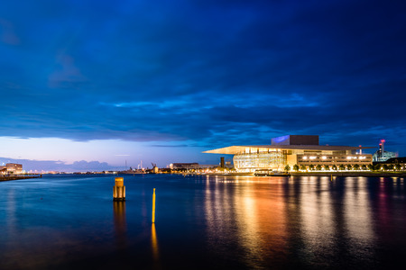 Copenhagen, Denmark - August 11, 2016. The Copenhagen Opera Houseat sunset. It is the national opera house of Denmark, and among the most modern opera houses in the world.