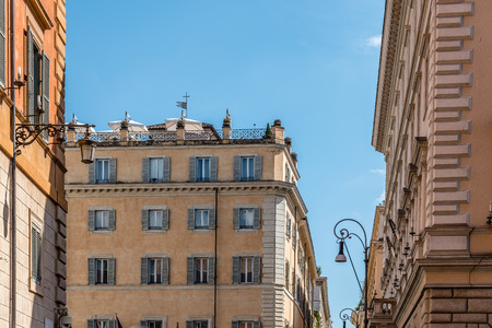 minerva: Rome, Italy - August 18, 2016: Low angle view of old buildings in historical centre of Rome a sunny summer day. Piazza di Minerva near Panteon Editorial