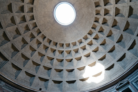 former: Rome, Italy - August 18, 2016: Indoor view of Pantheon of Agripa in Rome. The Pantheon is a former Roman temple, now a church.