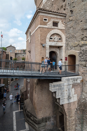 tiber: Rome, Italy - August 19, 2016:  Courtyard of Mausoleum Castel Sant Angelo. The Mausoleum of Hadrian, usually known as Castel SantAngelo is a towering cylindrical building in Rome Editorial