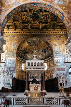 baroque: Rome, Italy - August 18, 2016: Interior view of church of Santa Maria in Trastevere. It is a titular minor basilica in the Trastevere district of Rome, and one of the oldest churches of Rome