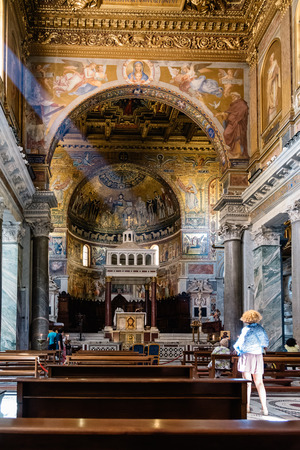 Rome, Italy - August 18, 2016: Interior view of church of Santa Maria in Trastevere. It is a titular minor basilica in the Trastevere district of Rome, and one of the oldest churches of Rome