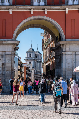 Madrid, Spain - July 2, 2017:  Plaza Mayor in Madrid. It was built during Philip IIIs reign and is a central plaza in the city of Madrid. Sunny summer day.