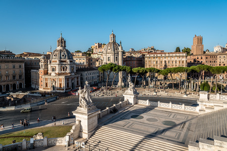 Rome, Italy - August 20, 2016:  Skyline of Venezia square in Rome a sunny summer day