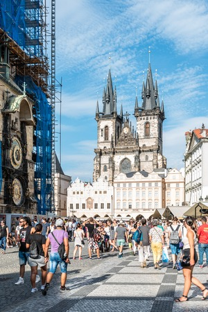 Prague, Czech Republic - August 18, 2017: Church of Our Lady before Tyn with a crowd of tourist from square a sunny day of summer.