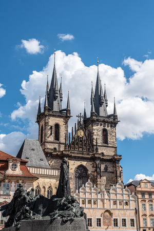 Prague, Czech Republic - August 20, 2017: Church of Our Lady before Tyn with a crowd of tourist from square a sunny day of summer.