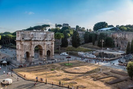 Arch of Constantine in Rome at sunset