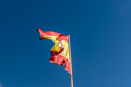 Spanish flag waving Stock Photo