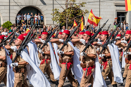 Soldiers marching in Spanish National Day Army Parade