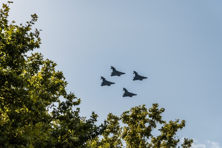 Four Eurofighter jet flying in Spanish National Day Parade