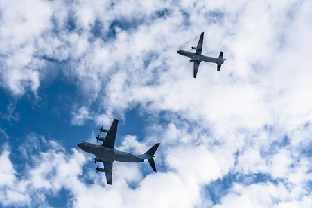 Transport military aircrafts flying in formation