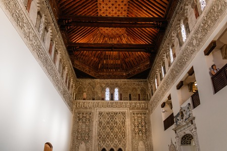 Indoor view of Synagogue of Transito in Toledo Editorial