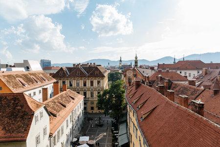 Cityscape of Graz from Schlossberg,