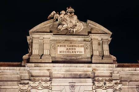Puerta of Alcala in Madrid at night on Christmas time Editorial