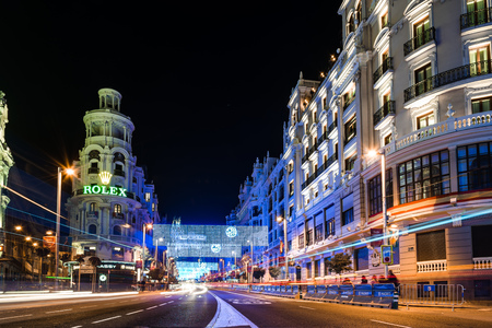 Gran Via Street in Madrid at night on Christmas time with lighting