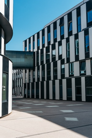 Vienna, Austria - August 15, 2017: Modern architecture building in New campus of the University of Economics and Business of Vienna