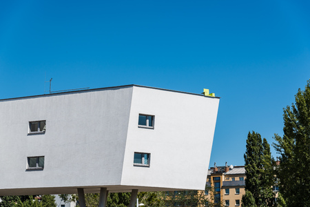 Modern architecture Residential building in Vienna against blue Editorial