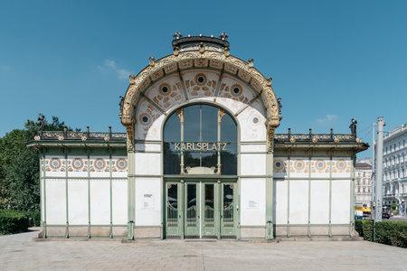 Subway entrance and Art Nouveau pavilion at the Karlsplatz in Vi Editorial