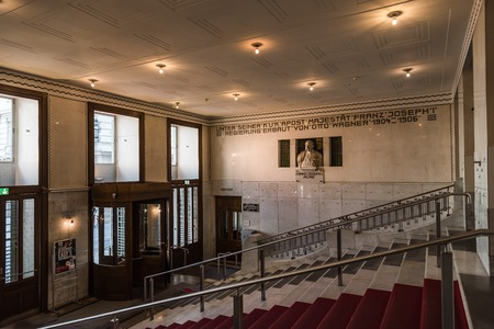 Entrance to Austrian Postal Savings Bank building in Vienna